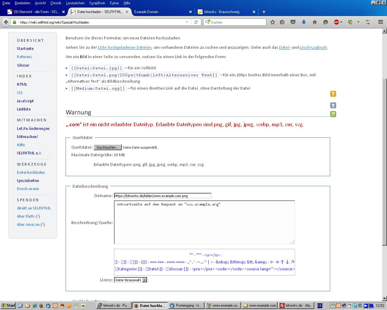 Unerlaubter Dateityp